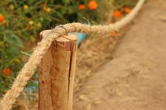 Rope was tied to a pole in the garden. Stock Photography