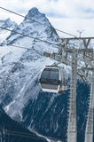 Rope-way. Rope-way on a mounting skiing resort in Russia. Settlement Dombai.The Caucasian mountains Stock Images