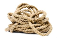 Rope on white background isolated. Rope closeup on white background isolated stock image