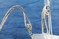 Rope and winch on a sailing vessel closeup Royalty Free Stock Image