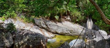 Rope and Wire suspended hanging bridge across a Jungle River in El Eden by Puerto Vallarta Mexico where movies have been filmed. In America stock photos