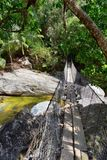 Rope and Wire suspended hanging bridge across a Jungle River in El Eden by Puerto Vallarta Mexico where movies have been filmed. In America royalty free stock image
