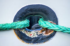 Rope With Anchored Ship Royalty Free Stock Images