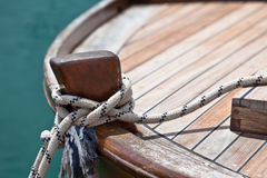Rope on a wooden boat deck Royalty Free Stock Images