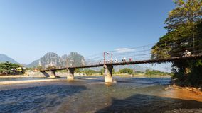 Rope wooden bridge in Vang Vieng, Laos. Royalty Free Stock Photography