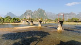 Rope wooden bridge in Vang Vieng, Laos. Royalty Free Stock Photo
