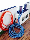 Rope on wooden deck in passenger ship Stock Image