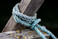 Rope on a wooden pier Royalty Free Stock Images