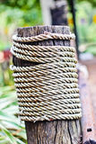 Rope on a wooden surface. / macro Royalty Free Stock Image
