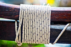 Rope on a wooden surface. / macro Royalty Free Stock Photography