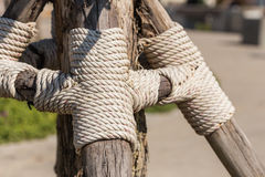 Rope on wooen pole Royalty Free Stock Image