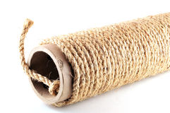 Rope wound on a cardboard tube Stock Image