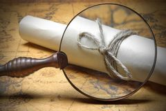 Rope Wrapped Brown Paper Close Up Under Magnifying Glass Stock Images
