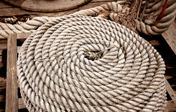 Rope on yacht deck Stock Photos