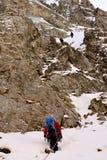 Roped teams climbing Gran Encantat in Aigüestortes, Catalonia Royalty Free Stock Photo