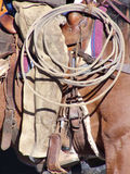Roper Gear. Cowboy saddled up and equipped to do serious roping Royalty Free Stock Image