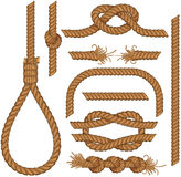 Ropes. Set of seamless Rope elements - easy editable colors without gradients gallows, ladder, cable, lasso, knots, loop, spiral etc Stock Photo