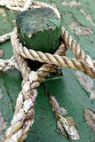 Ropes. On a green boat Royalty Free Stock Image