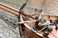 Ropes and anchor on old sailing boat Stock Photo