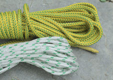 Ropes. Bights of dynamic rope used in sport climbing Stock Photo