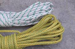 Ropes. Bights of dynamic rope used in sport climbing Stock Image
