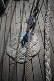 Ropes on a boat deck stock images
