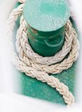 Ropes on boat in port of Norway, Scandinavia. Stock Image