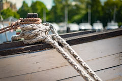 Ropes on boat in port of Stockholm, Sweden. Stock Photography