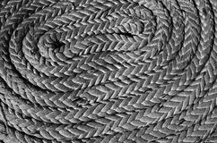 Ropes braided in bays on an ancient sailing vessel Stock Photography