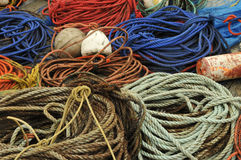 Ropes and Buoys. A colorful collage of ropes and buoys on the dock at Peggy's Cove, Nova Scotia stock photos