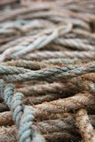 Bunch of ropes. A bunch of old ropes on a pier Royalty Free Stock Photography