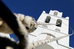 Ropes and church bell tower Stock Image