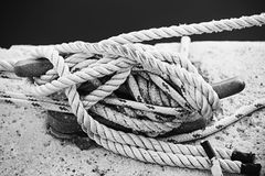Ropes on cleat Royalty Free Stock Photography