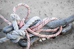 Ropes on cleat Royalty Free Stock Images