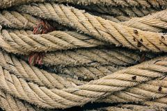 Ropes. Close up. Ropes pattern texture or background stock image