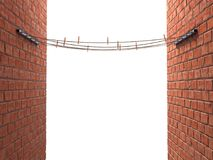 Ropes with clothespins on stands between two breaks walls Royalty Free Stock Photo