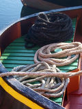 Ropes coiled on a boat. Ropes coiled on the prow of a boat Royalty Free Stock Image