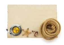 Ropes and compass on ancient paper Stock Photo