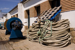 Ropes and cords. Ropes and ropes, fishing port of Palamos Royalty Free Stock Images