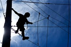 Free Ropes Course Climber Royalty Free Stock Image - 28561306