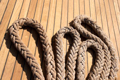 Ropes on deck Royalty Free Stock Photo