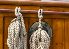 Ropes on the deck of a boat Stock Images