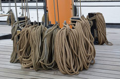 Ropes on the deck of a large sailing ship. Stock Image