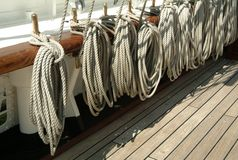 Ropes and deck of ship Stock Image