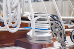 Ropes fastening mechanisms in a yacht Royalty Free Stock Image