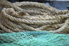 Ropes and fishing nets Stock Image
