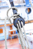 Ropes and fixing arrangements on a sailboat Royalty Free Stock Photography