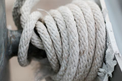 Ropes flags closeup spinning in a circle Stock Photo
