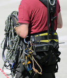 Ropes and gear for climbers during climbing workouts. Strong nylon ropes and gear for climbers during climbing workouts Stock Image