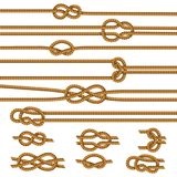 Ropes Knots Realistic Set. Useful ropes knots samples collection with figure 8 square reef sheet bend overhand realistic isolated vector illustration Stock Images
